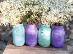 except in wedding colors and with burlap and lace ribbon tied around. Vintage Weddings / Distressed Mason Jars for Vintage White Weddings / Wedding Decoration / Wedding Centerpiece for French Parisian Weddings Wedding 2017, Purple Wedding, Wedding Colors, Our Wedding, Wedding Flowers, Dream Wedding, Parisian Wedding, Chic Wedding, Sister Wedding