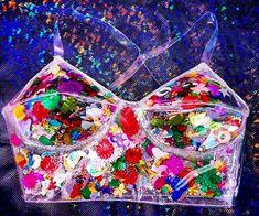 90s club kid Clear PVC glitter confetti bralet by TheUnicornEmporium on Etsy…