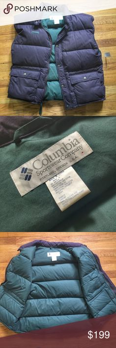 Vintage Mens Columbia Down Vest Vintage Columbia Down Vest - Pre-owned In Mint Condition.  Colors are purple and green. Columbia Jackets & Coats Vests