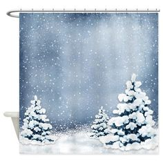 Cute Snowy Pine Trees Shower Curtain Christmasshowercurtainglam Christmas Themes Backdrops Winter