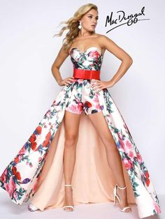 Check out the deal on Mac Duggal Prom 79097M Floral Romper with Detachable Skirt at French Novelty