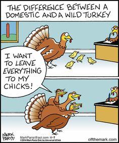 wild vs. domestic turkeys | Off the Mark (2014-11-07) via GoComics