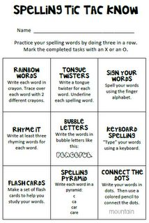 Debbie's Dabblings: Spelling Tic Tac Know Part 2 Word Study possible homework Sight Word Spelling, Spelling Homework, Spelling Practice, Grade Spelling, Spelling Activities, Spelling And Grammar, Spelling Ideas, Spelling Centers, Classroom Setup