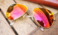 orange pink and red mirrored aviator sunglasses