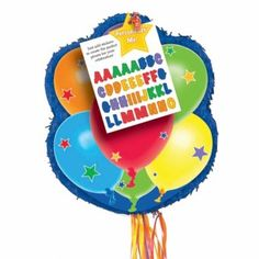 Balloons Personalisable Pull String Pinata - This Balloon themed pinata is  ideal for all parties as it  comes with stickers which allow you to create a unique pinata!
