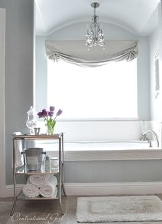 Euro Elegance--mirrored tray table; wall color; valance; mini chandelier; tub edging & tile.