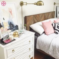The Xandra O'verlays on an Ikea Malm 3 drawer dresser is an easy diy furniture makeover to create a simply comfy and contemporary theme to your bedroom.