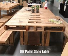 pallet dinner table, pallet style, pallet projects outdoor, outdoor tabl, pallet inspiration, wood pallets