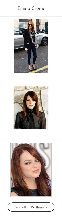 """""""Emma Stone"""" by changeofyou ❤ liked on Polyvore featuring emma stone, pictures, celebrities, emma, fotos, jewelry, stone jewelry, stone jewellery, hair and people"""