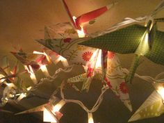 Origami pastel Crane lantern string light by OrigamiByWingy, $36.00