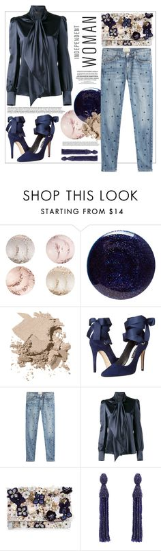 """""""Midnight sky"""" by teryblueberry ❤ liked on Polyvore featuring Lauren B. Beauty, Bobbi Brown Cosmetics, Alice + Olivia, Current/Elliott, Yves Saint Laurent, Accessorize and Oscar de la Renta"""