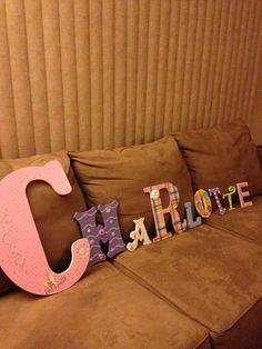 """made for a special little girl - """"CC"""" Wooden Alphabet Letters, Decorated Letters, Baby Ideas, Birthday Candles, Little Girls, Toddler Girls"""