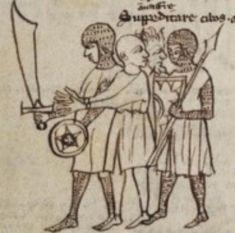 Buckler and falchion, illustrated miniature manuscript, 1289, France.