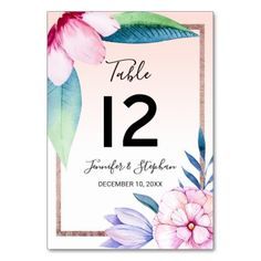 #Blush Watercolor Floral Rose Gold Table Numbers - #floral #gifts #flower #flowers