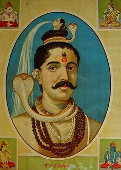 Lord Shiva as Shri Kashi Vishvanath. Ravi Varma Press. 1910.