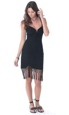 Vestido Guipir Barrado Franjas - Agatha e-Store