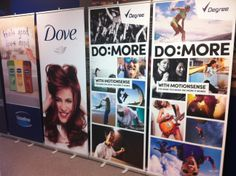 Retractable banner stands. Full colour hang straight matte fabric with aluminium hardware. #tradeshowdisplays #retractablebannerstands #rollupbanners