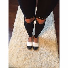 Studded slit knee leggings Loooove these super cute and stylish studded leggings • goes perfectly with an over sized knit and espadrilles • 95% cotton 5% spandex • modeling a small • available in SML • studs are a rust / gold color • price is firm • please don't purchase this listing  Pants Leggings