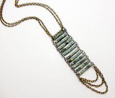 20 OFF  ZENITH  Raku glass brass chain necklace by lenasekine, $36.00
