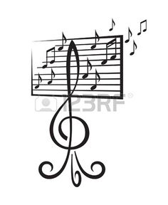 music stand in the form of a treble clef Stock Vector