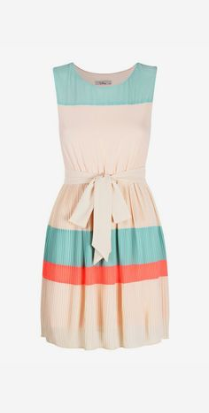 Cream & Teal Stripe Gracie Sleeveless Dress