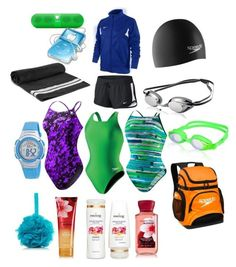 """swim bag"" by allie-bernocco on Polyvore featuring Speedo, NIKE, TYR"