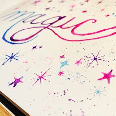 Hoping everyone is having a magical Saturday! This is now available as an 8x10 print! I just love how the gradient turned out on the lettering and how each star is a little different from the others. 🤗✨✌🏻️
