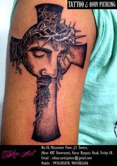 jesus christ bllack & grey wash tattoo