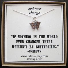 I love the saying Butterfly Charm Necklace - Butterfly Jewelry - Going Away Present - Divorce Gift - New Job Gift. $28.00, via Etsy.