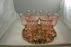 Vintage Antique Set Of Six Pink Stemmed 1930's Depression Glasses ~Shabby Cottage~French Chic~Prairie~Farmhouse Style by thebedpost02 on Etsy