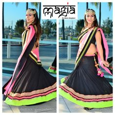 Anveer in the Black gorget Lehenga with a neon touch to it...Simple but still elegant.