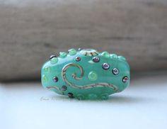 Sea Scrolls handmade lampwork bead tube bead by Ema by EmaKDesigns, $35.00