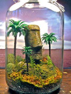 Easter Island Moai Terrarium - Exotic Moss Zen Garden