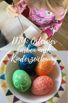 Schöne Idee, um mit den Kindern zusammen Ostereier zu färben. Verwendet werden Wachsmalstifte. #diy #ostern #ostereier