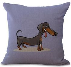 Cute Cartoon Dachshund Fun Cushion Cover