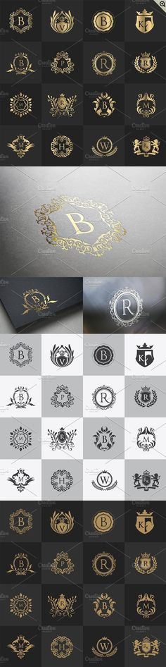 32 Luxury logo set (PSD) by Super Pig Shop on @creativemarket