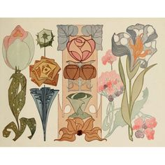 Vintage Illustration Art Nouveau Flowers - The Graffical Muse Motifs Art Nouveau, Art Nouveau Pattern, Art Nouveau Design, Design Art, Flores Art Nouveau, Art Nouveau Flowers, Art And Illustration, Floral Illustrations, Jugendstil Design
