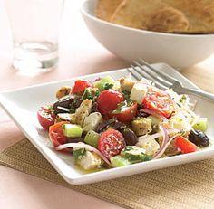 Village-Style Greek Salad with Chicken & Lemon-Mint Vinaigrette