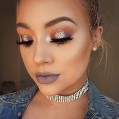 Orange, purple, glitter halo eyeshadow w/ purple lilac lip Gorgeous Makeup, Pretty Makeup, Love Makeup, Makeup Inspo, Makeup Inspiration, Makeup Ideas, Makeup Style, Makeup Tutorials, Glitter Eyeliner