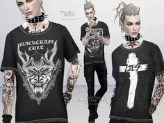 TORU loose T-Shirt, Blackcraft Cult 5 swatches. Found in TSR Category 'Sims 4 Male Everyday'