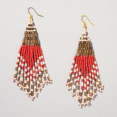 Coral and Bronze Seed Bead Chandelier Earrings