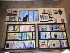 Book case quilt: After seeing all the bookcase quilts Pinterest, I just had to make one.  This quilt represents our family and our lives.