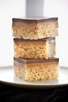 Chocolate, Caramel Peanut-Butter Rice Krispies Treats. How do they cut the edges so smoothly? These are pretty