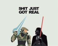 Halo vs Star Wars Created by Rory Jasper McGinnity Halo Funny, John 117, Halo Game, Pokemon, Red Vs Blue, The Villain, Funny Games, Destiny, Funny Pictures