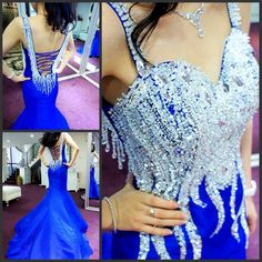 2017 Official Xijiang Mermaid Sweetheart Long Train Blue Luxury Crystal Appliques Evening Dresses/Party Gowns Free Shipping 18