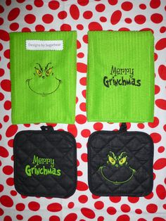 Designs by Sugarbear Custom Embroidered Towels & Potholders - Matching Set Machine Embroidered - The Grinchs Face & Merry Grinchmas - Grinch Christmas Decorations, Grinch Christmas Party, Grinch Party, Christmas Signs, Rustic Christmas, Christmas Holidays, Christmas Crafts, Christmas Carol, Machine Embroidery Projects