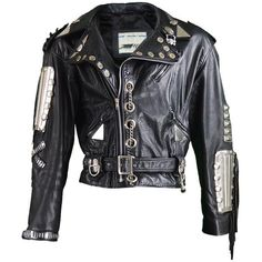 Preowned Kim Hadleigh Designs Vintage Men's Armor Plated Leather... ($669) ❤ liked on Polyvore featuring men's fashion, men's clothing, men's outerwear, men's jackets, black, jackets, mens chains, mens jackets, mens leather fringe jacket and mens leather key chains