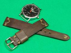 Handmade Watch Strap Horween Natural Dublin  skin Color brown, 18mm, 20mm, 22mm, 24mm, 045 by SarmatiaLeather on Etsy