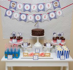Fantastic dessert table at a puppy birthday party! See more party planning ideas at CatchMyParty.com!