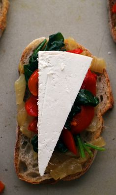 Caramelized Onion, Spinach, Roasted Red Pepper and Ricotta Salata Crostini - Joanne Eats Well With Others